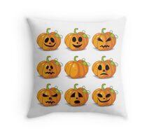Orange stylized Jack O' Lanterns for Halloween or whenever Throw Pillow