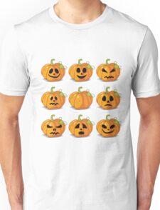Orange stylized Jack O' Lanterns for Halloween or whenever Unisex T-Shirt