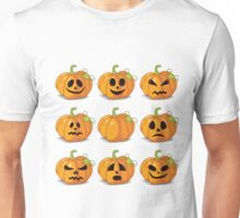 Orange stylized Jack O' Lanterns for Halloween or whenever Unisex T-Shirt