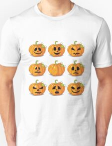 Orange stylized Jack O' Lanterns for Halloween or whenever T-Shirt