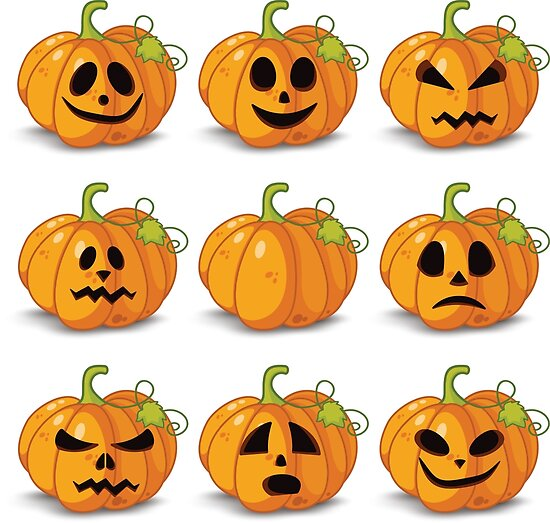 Orange stylized Jack O' Lanterns for Halloween or whenever