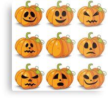 Orange stylized Jack O' Lanterns for Halloween or whenever Metal Print