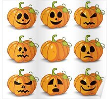 Orange stylized Jack O' Lanterns for Halloween or whenever Poster