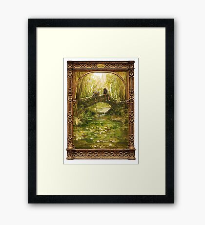 Two friends sitting by a river Framed Print