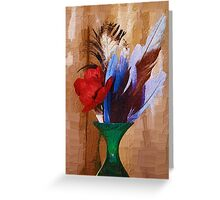 Digital Art, Feathers, flowers, in green wooden vase! Greeting Card