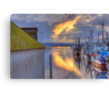 Burning Clouds in the Harbor Canvas Print