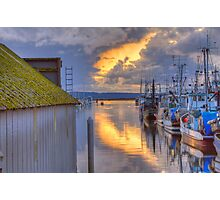 Burning Clouds in the Harbor Photographic Print
