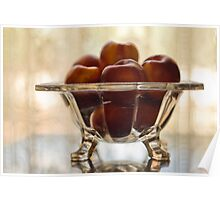 Still Life with Peaches in Glass Bowl Poster