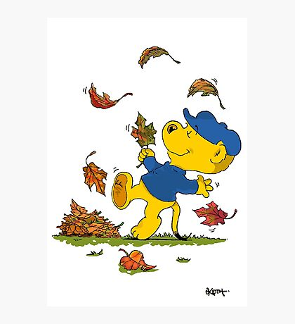 Ferald Dancing Amongst The Autumn Leaves Photographic Print