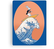 White Rabbit Surfing Canvas Print