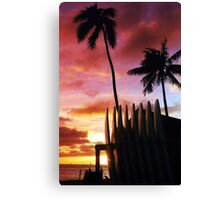 Surfboard sunset Canvas Print