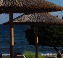 Beach Umbrellas & Mythos Beer Sticker
