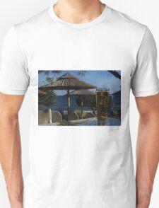 Beach Umbrellas & Mythos Beer T-Shirt