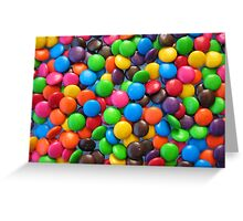 Smarties on a glass table Greeting Card