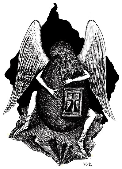 Angel with Egg surreal black and white pen ink drawing by Vitaliy Gonikman
