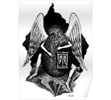 Angel with Egg surreal black and white pen ink drawing Poster
