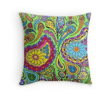 Lime Bright Paisley Throw Pillow
