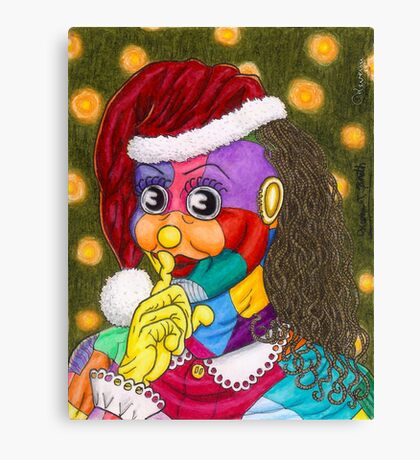 Shh!  Santa Scraps is Sneaking by Kevenn T. Smith Canvas Print