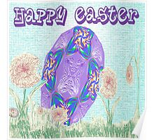 Happy Easter or Pretty Foil Egg Poster