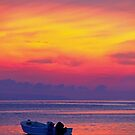 lonely boat at sunset (for Dandy) by lensbaby
