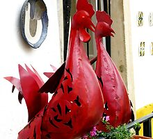 Roosters - Obidos by Marilyn Harris