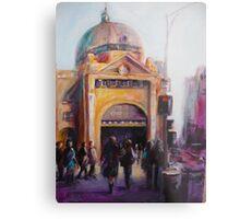 Morning bustle Flinders street Station Melbourne Metal Print