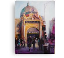 Morning bustle Flinders street Station Melbourne Canvas Print