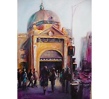 Morning bustle Flinders street Station Melbourne Photographic Print