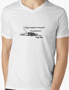 Flying is learning how to throw yourself at the ground and miss Mens V-Neck T-Shirt