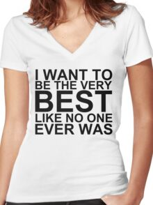 I Want To Be The Very Best, Like No One Ever Was (Pokemon) Women's Fitted V-Neck T-Shirt