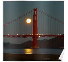 Full Moon and the Golden Gate Bridge Poster