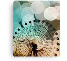 Pastel bokeh blue ferris wheel  Metal Print