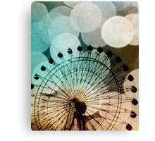 Pastel bokeh blue ferris wheel  Canvas Print