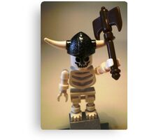 White Skeleton Viking and Custom Axe, Custom Minifigure Canvas Print