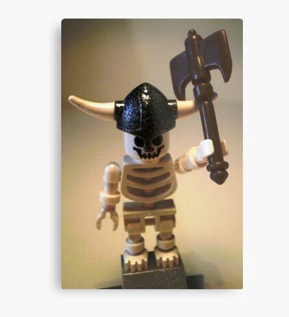 White Skeleton Viking and Custom Axe, Custom Minifigure Metal Print