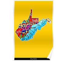 West Virginia State, Includes West Virginia State city names, West Virginia State icons, West Virginia State facts and all West Virginia Poster