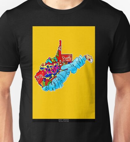 West Virginia State, Includes West Virginia State city names, West Virginia State icons, West Virginia State facts and all West Virginia Unisex T-Shirt