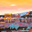 Athens Greece Acropolis At Sunset  by artshop77