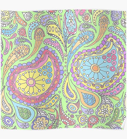 Lime Pastel Paisley Poster