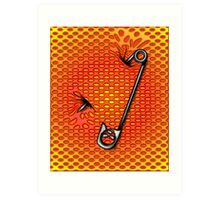Sookie Skull Safety Pin Orange and Yellow Art Print