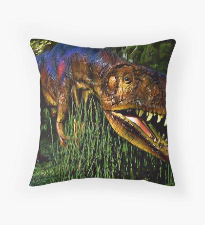 Dinosaur in Reeds Throw Pillow