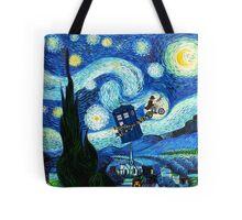 Tardis Flying Starry Night Tote Bag