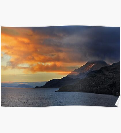 Sunset on the Chilean Fiords Poster