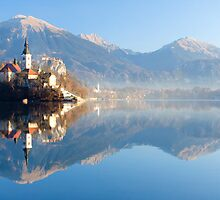 Reflections on Lake Bled by Ian Middleton