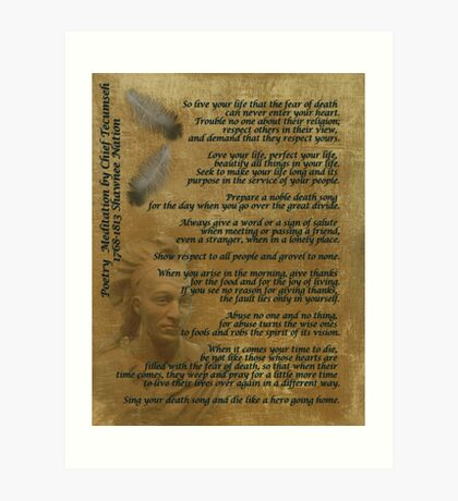 """Live Your Life""  on old parchment, Chief Tecumseh Art Print"