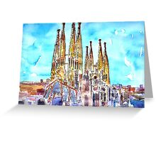Sagrada Famila in Barcelona with Blue Sky Greeting Card