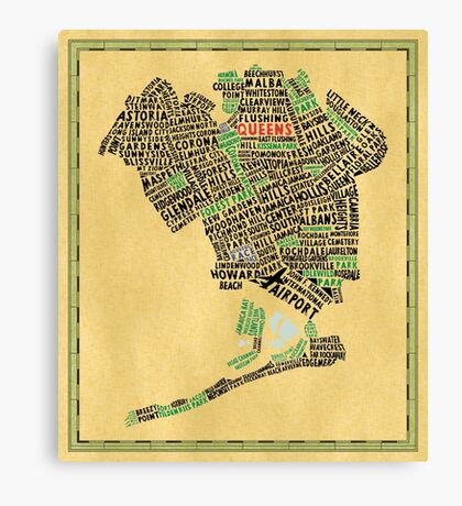 Queens New York Map Typography Canvas Print