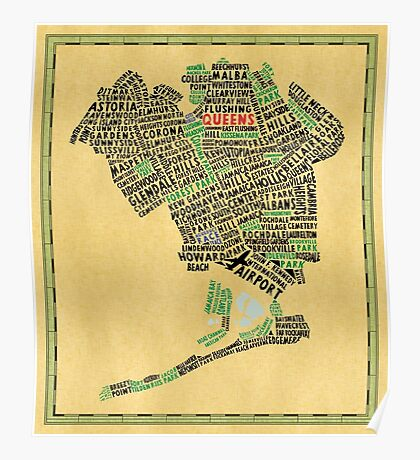 Queens New York Map Typography Poster