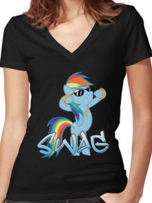Rainbow Swag Women's Fitted V-Neck T-Shirt