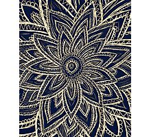 Cute Retro Gold abstract Flower Drawing on Black Photographic Print